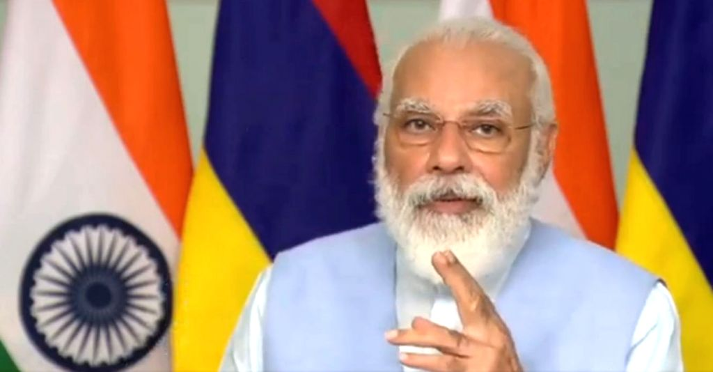 Prime Minister Narendra Modi addresses at the inauguration of the Mauritius Supreme Court building through video conferencing, from New Delhion July 30, 2020. The Supreme Court building in ... - Narendra Modi