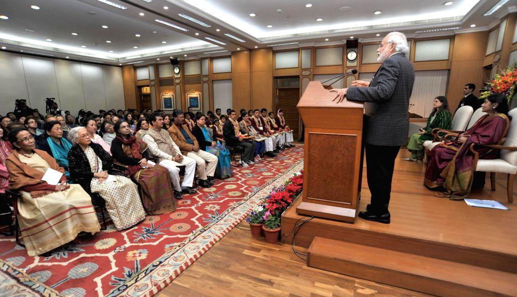Prime Minister Narendra Modi addresses at the ceremony of the National Awards for Bravery 2014, in New Delhi on Jan 23, 2015. - Narendra Modi