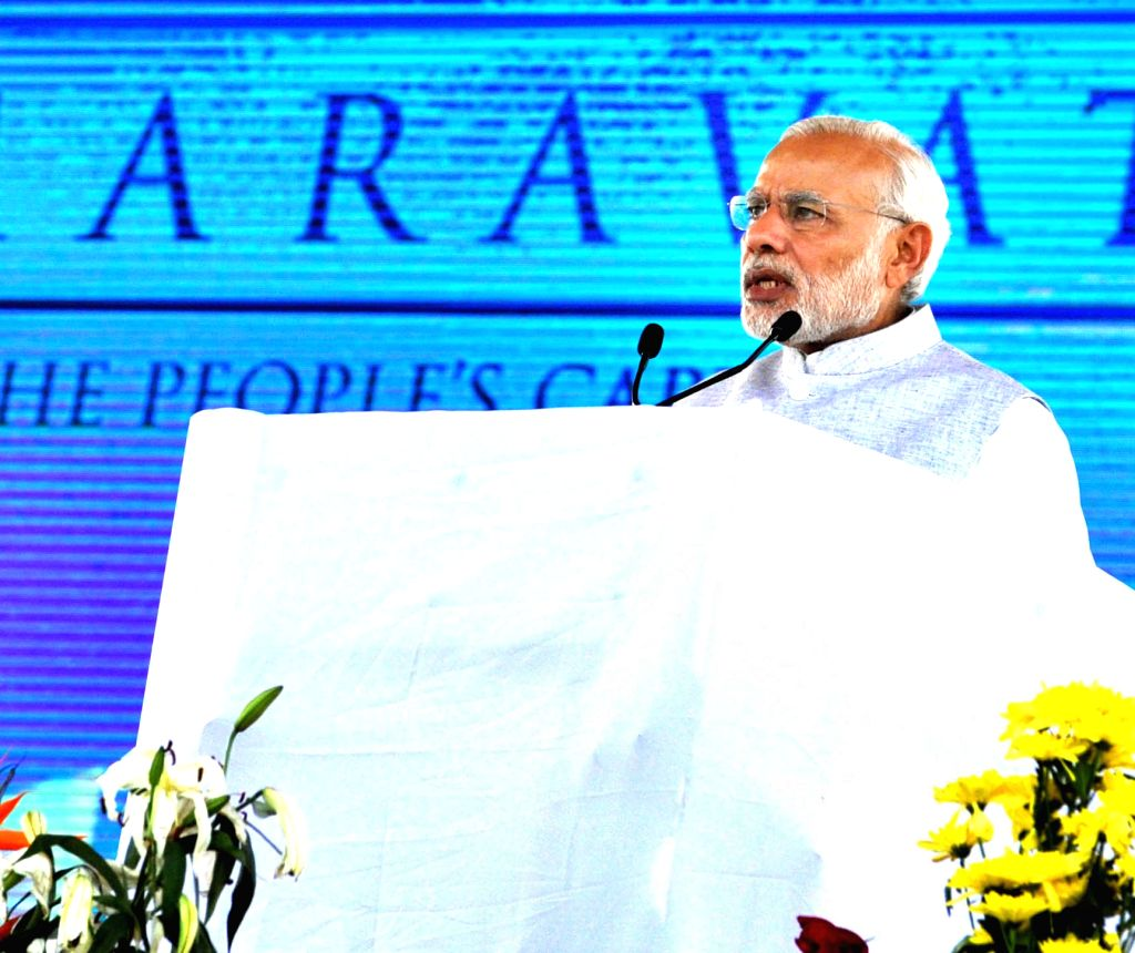 Prime Minister Narendra Modi addresses at the ground breaking ceremony of 'Amaravathi'- the new capital city of Andhra Pradesh on Oct 22, 2015. - Narendra Modi