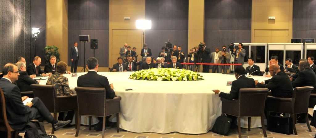 Prime Minister Narendra Modi addresses at the BRICS leaders` meeting, on the sidelines of G20 Turkey 2015, in Antalya, Turkey on Nov 15, 2015. - Narendra Modi