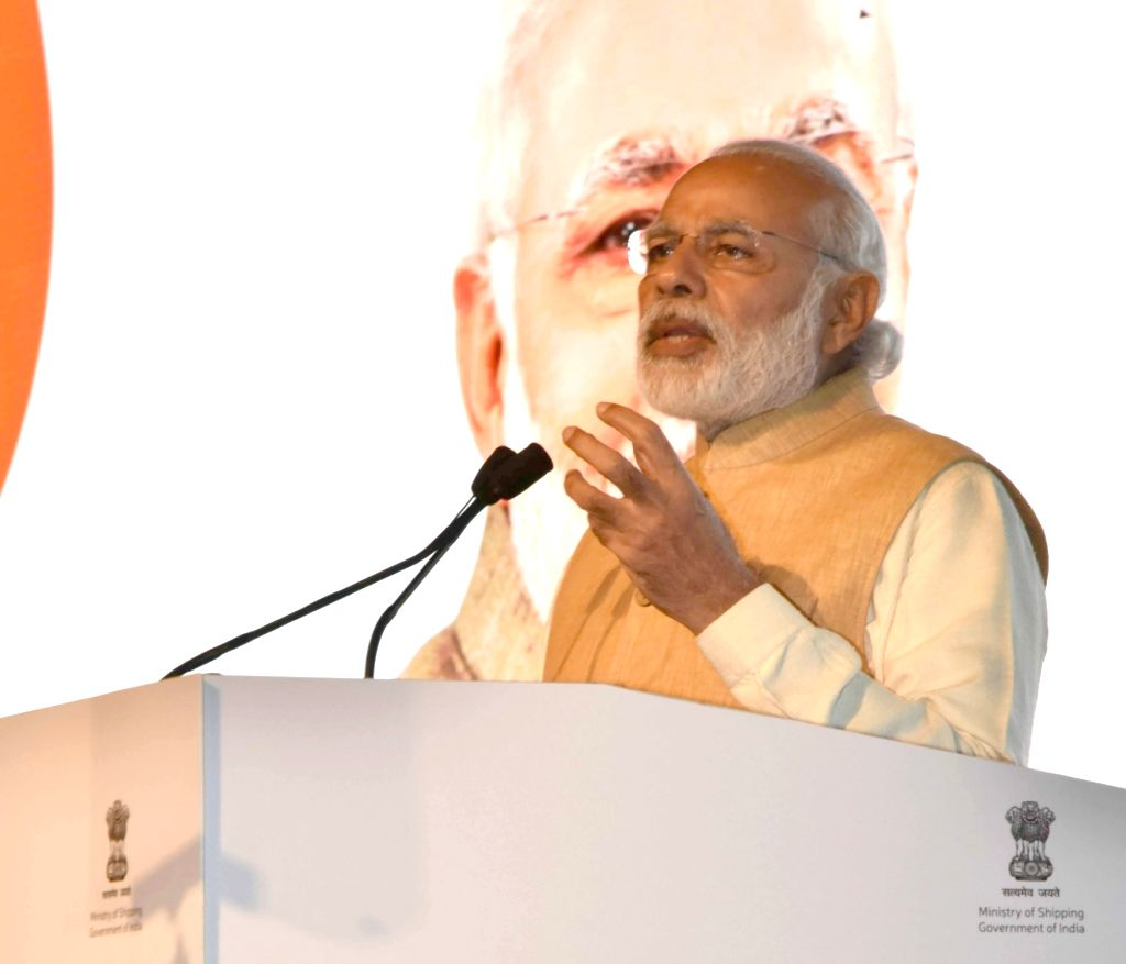 Prime Minister Narendra Modi addresses at the Maritime India Summit, in Mumbai on April 14, 2016. - Narendra Modi