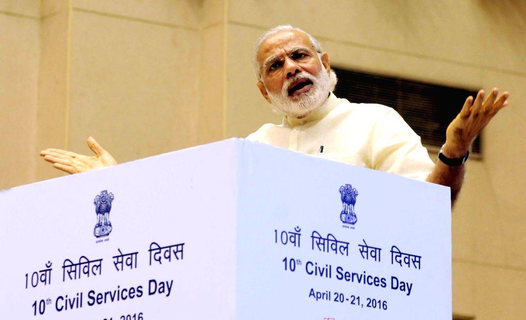 Prime Minister Narendra Modi addresses at the 10th Civil Services Day function, in New Delhi on April 21, 2016. - Narendra Modi