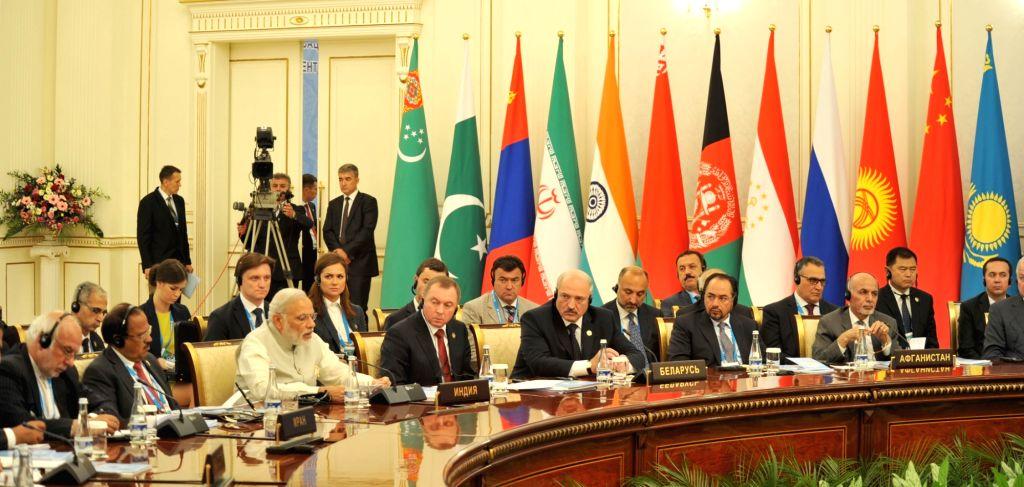 Prime Minister Narendra Modi addresses at the Shanghai Cooperation Organisation (SCO) summit, in Tashkent, Uzbekistan on June 24, 2016. - Narendra Modi