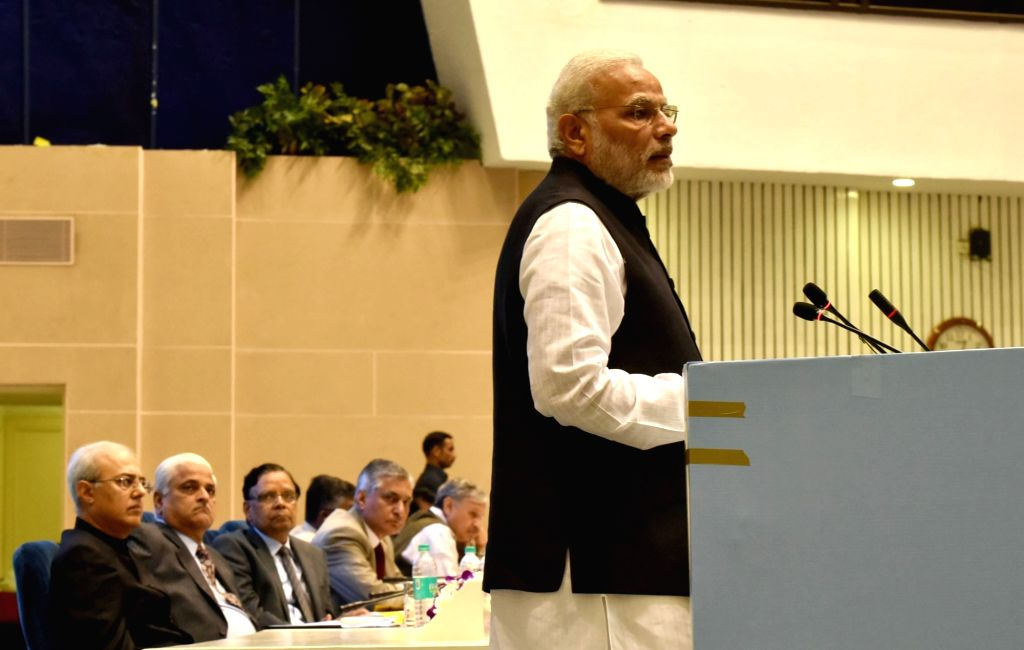 Prime Minister Narendra Modi addresses at the valedictory session of National Initiative towards Strengthening Arbitration and Enforcement, in New Delhi on Oct 23, 2016. - Narendra Modi