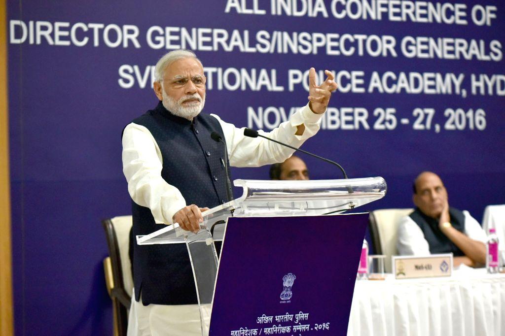 Prime Minister Narendra Modi addresses at the Annual Conference of DGs/IGs of Police in Hyderabad on Nov 26, 2016. - Narendra Modi