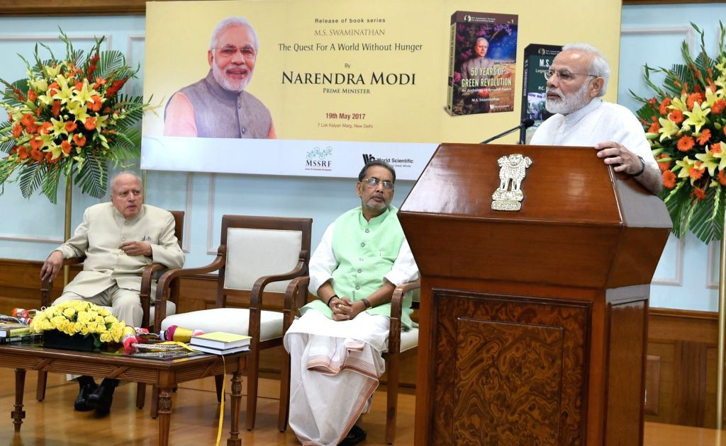 """Prime Minister Narendra Modi addresses at the release of a second part book series on Dr. MS Swaminathan, titled - """"M.S. Swaminathan - The Quest for a world without hunger"""" in ... - Narendra Modi"""