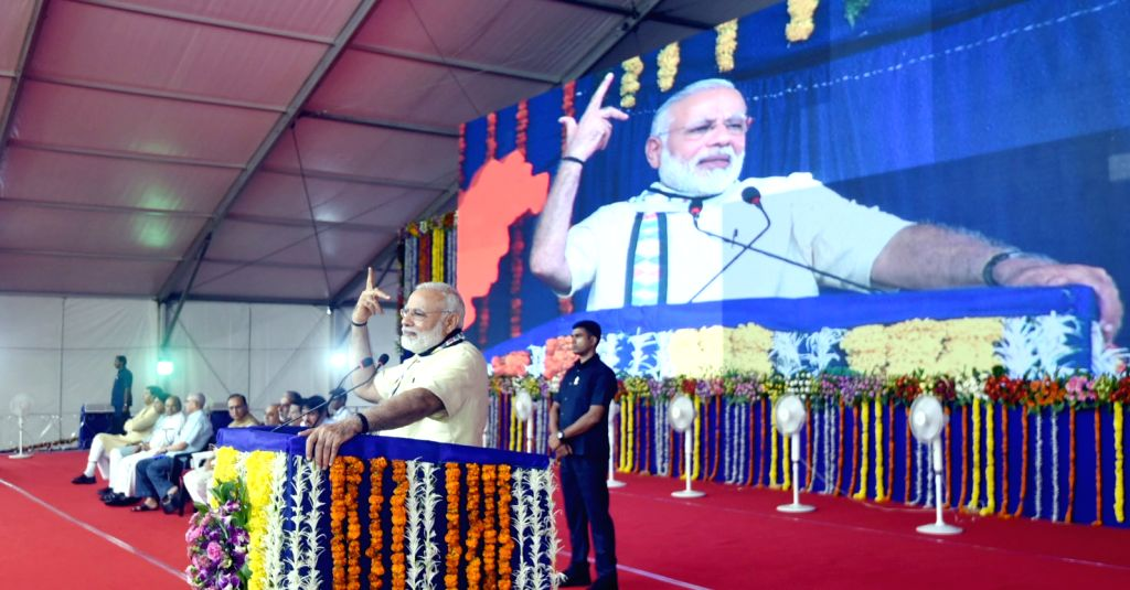 Prime Minister Narendra Modi addresses at the Samajik Adhikarita Shivir in Race Course Ground in Rajkot on June 29, 2017. - Narendra Modi