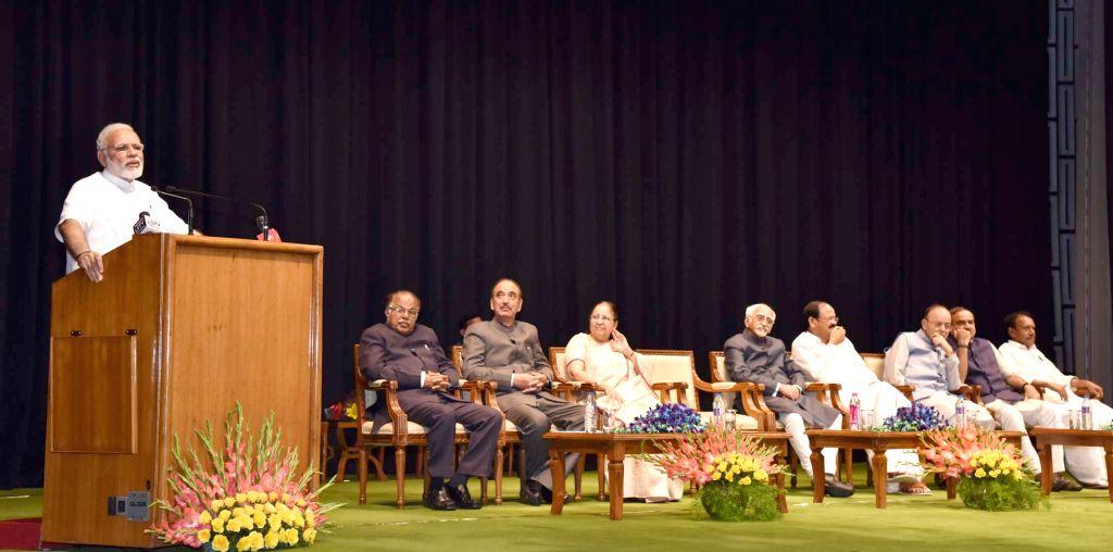 Prime Minister Narendra Modi addresses at the farewell function of the Vice President M Hamid Ansari at Parliament in New Delhi on August 10, 2017. Also seen Vice President-elect M ... - Narendra Modi, Ministers Arun Jaitley, Ananth Kumar, M Venkaiah Naidu and Sumitra Mahajan