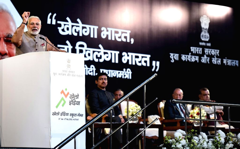 Prime Minister Narendra Modi addresses at the inauguration of the first edition of Khelo India School Games at the Indira Gandhi Indoor Stadium in New Delhi on Jan 31, 2018. - Narendra Modi