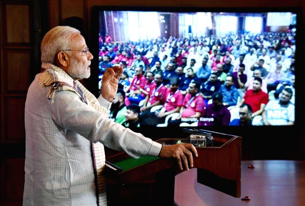 Prime Minister Narendra Modi addresses at the Silver Jubilee Celebrations of the Shree Cutchi Leva Patel Samaj in Nairobi, Kenya, via video conferencing, in New Delhi on March 30, 2018 - Narendra Modi