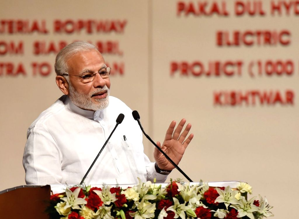 Prime Minister Narendra Modi addresses at the inauguration of the various projects in Jammu on May 19, 2018. - Narendra Modi