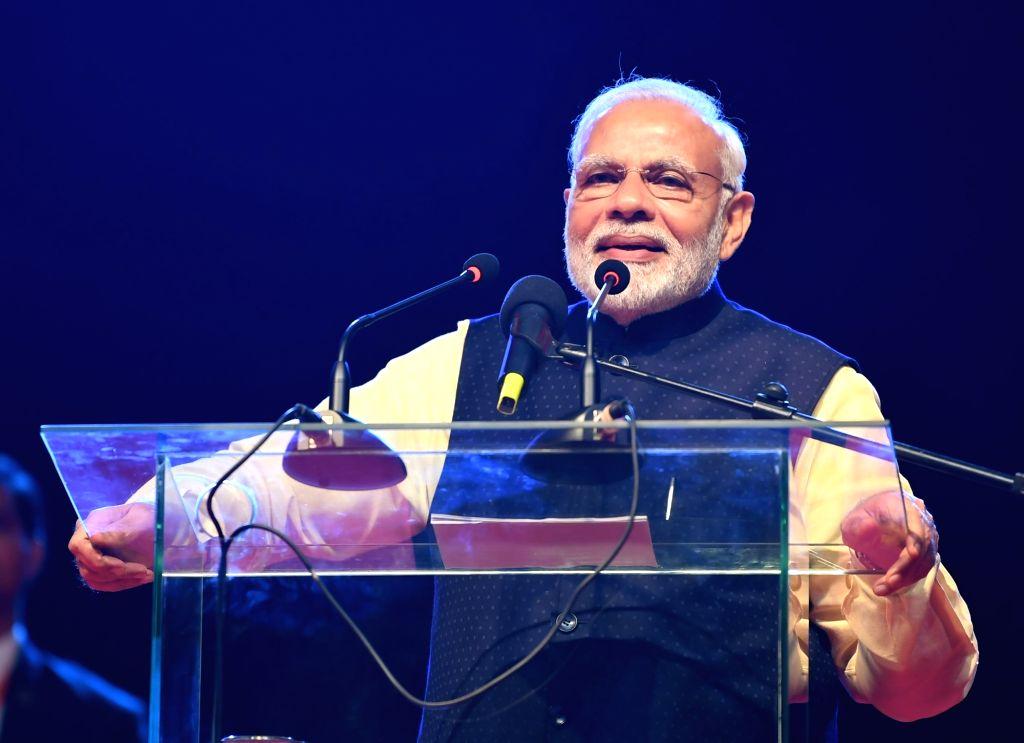 Prime Minister Narendra Modi addresses at the Indian community event in Kampala, Uganda on July 24, 2018. - Narendra Modi