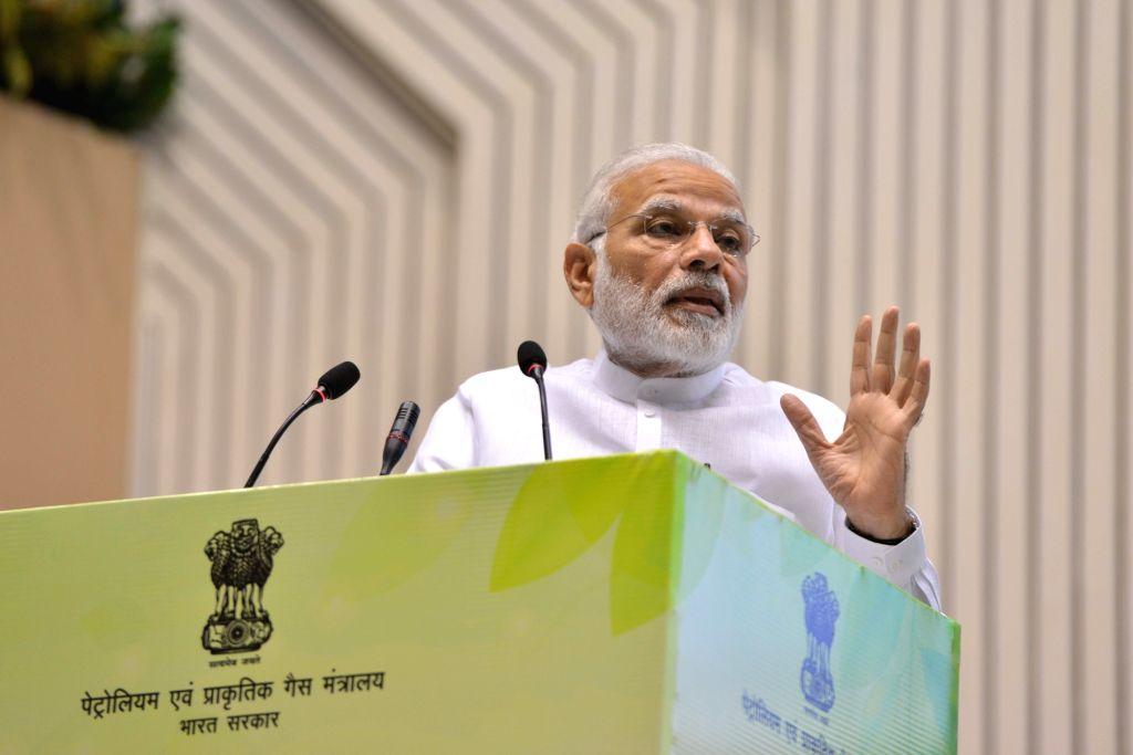"Prime Minister Narendra Modi addresses at the inauguration of the ""World Biofuel Day 2018"" programme, in New Delhi, on Aug 10, 2018. - Narendra Modi"