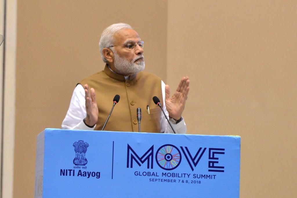 Prime Minister Narendra Modi addresses at the 'MOVE: Global Mobility Summit', in New Delhi, on Sept 7, 2018. - Narendra Modi