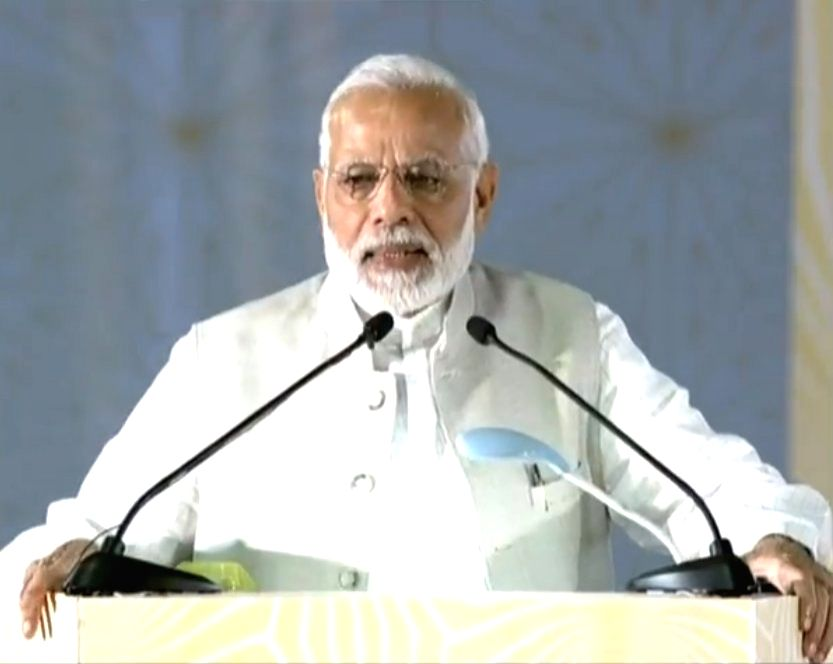 Prime Minister Narendra Modi addresses at the foundation stone laying ceremony of India International Convention and Expo Centre in Dwarka, New Delhi on Sept 20, 2018. - Narendra Modi