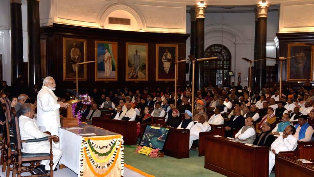 Prime Minister Narendra Modi addresses at the unveiling ceremony of Atal Bihari Vajpayee's portrait at the Central Hall of Parliament in New Delhi on Feb 12, 2019. - Narendra Modi and Atal Bihari Vajpayee