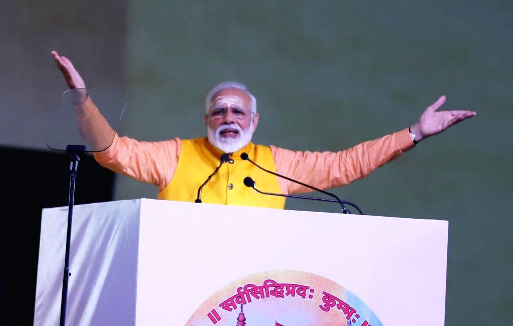 Prime Minister Narendra Modi addresses at the 'Swachh Kumbh Swachh Aabhaar' programme in Prayagraj, on Feb 24, 2019. - Narendra Modi