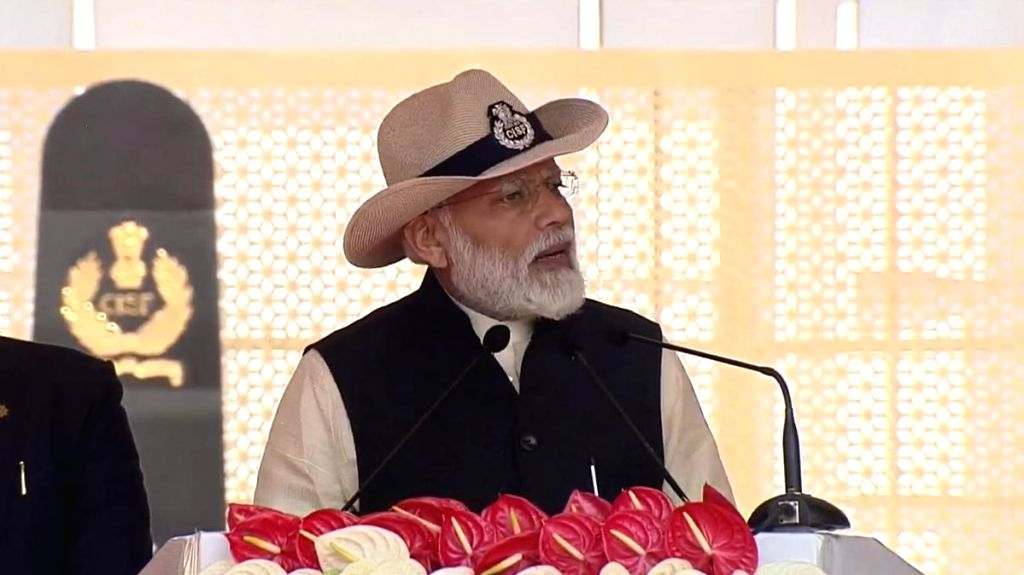 Prime Minister Narendra Modi addresses at the Central Industrial Security Force (CISF) Day parade at CISF 5th Reserve Battalion, in Ghaziabad, Uttar Pradesh, on March 10, 2019. - Narendra Modi