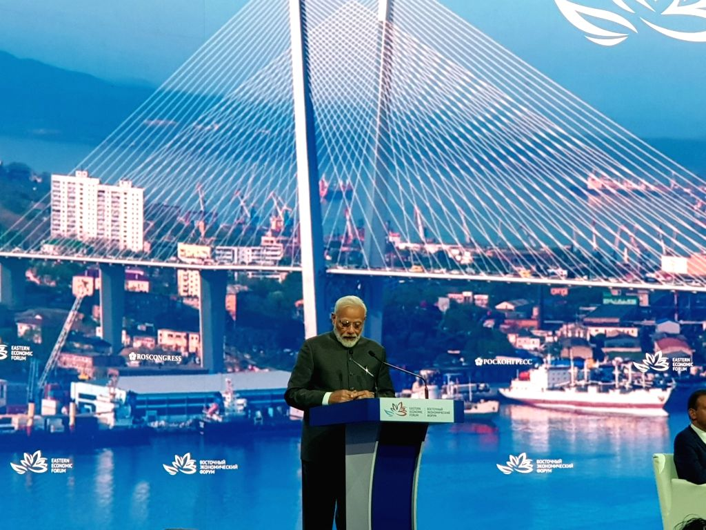 Prime Minister Narendra Modi addresses at the Plenary session of the Eastern Economic Forum (EEF) 2019 as the Chief Guest in Vladivostok, Russia on Sep 5, 2019. - Narendra Modi