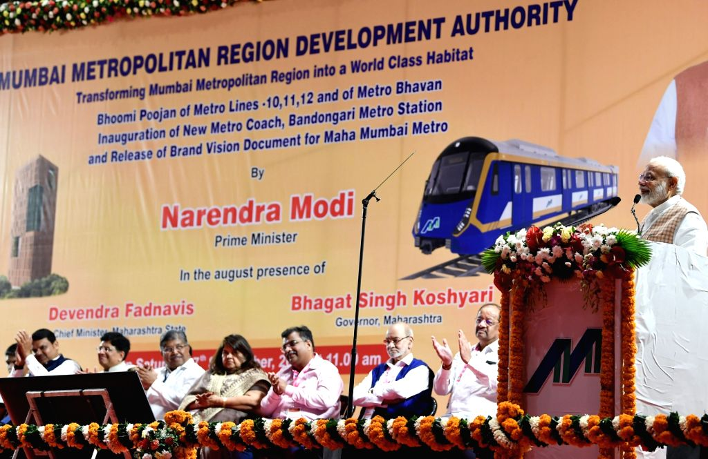 Prime Minister Narendra Modi addresses at the inauguration of various Metro Projects in Mumbai on Sep 7, 2019. - Narendra Modi