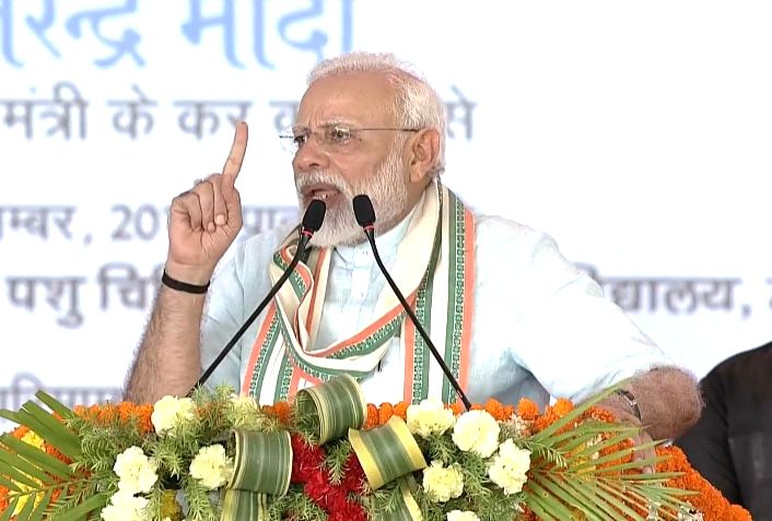 Prime Minister Narendra Modi addresses at the launch of National Animal Disease Control Programme (NADCP) in Uttar Pradesh's Mathura on Sep 11, 2019. - Narendra Modi