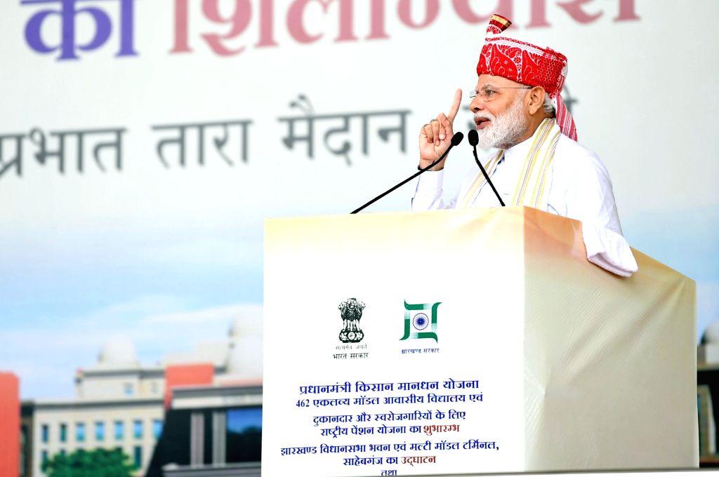 Prime Minister Narendra Modi addresses at the inauguration of various development projects, in Ranchi on Sep 12, 2019. - Narendra Modi