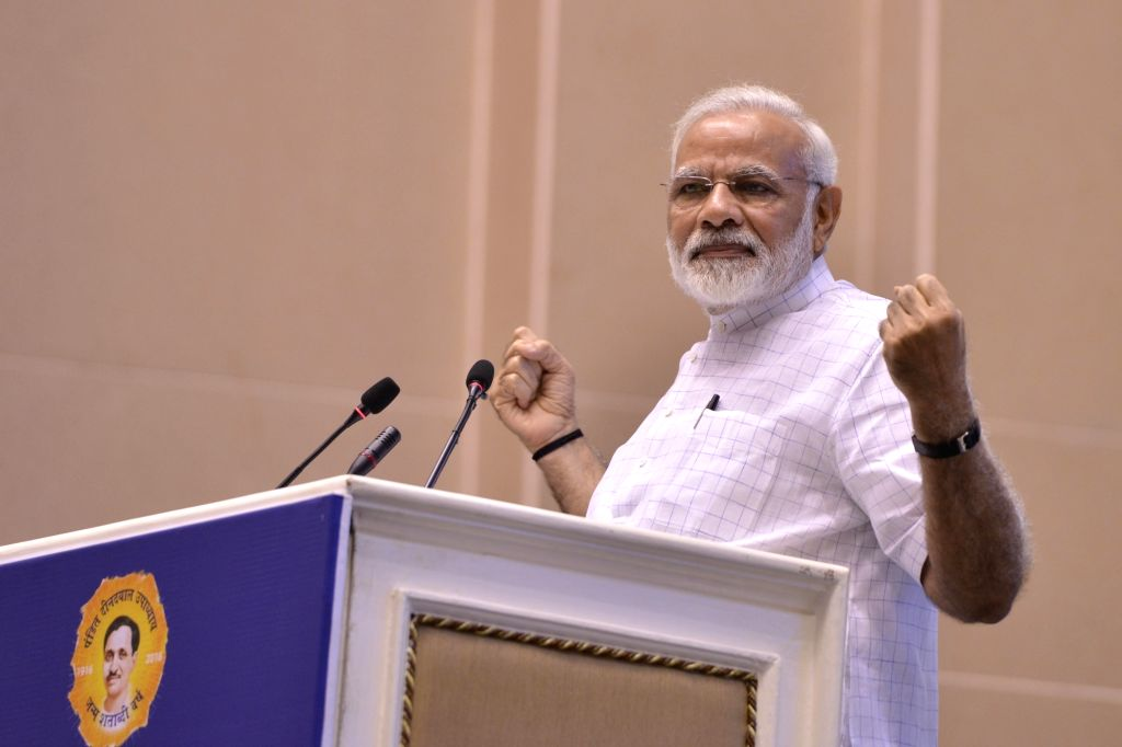 Prime Minister Narendra Modi addresses during convention of student leaders on the theme of 'Young India, New India' and 125th anniversary of Swami Vivekanand's Chicago address in New ... - Narendra Modi