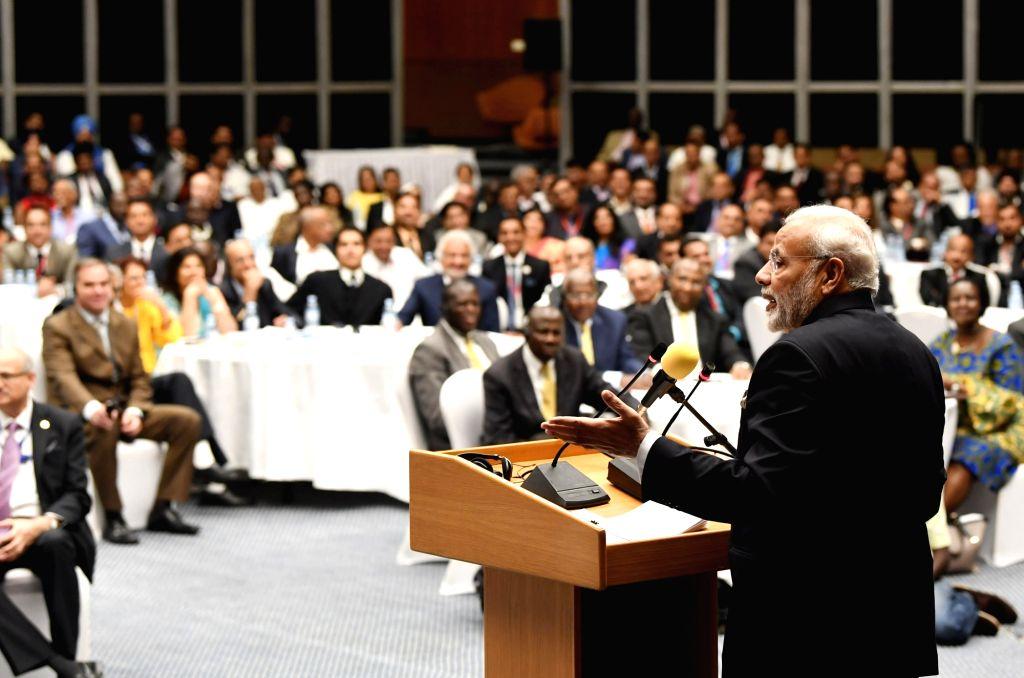Prime Minister Narendra Modi addresses during India-Uganda Business Forum in Kampala, Uganda on July 25, 2018. - Narendra Modi