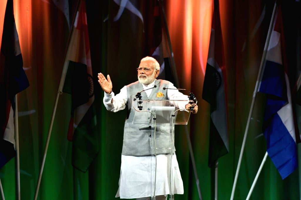 Prime Minister Narendra Modi addresses during a reception organised by the Indian Community in Amsterdam, Netherlands on June 27, 2017. - Narendra Modi
