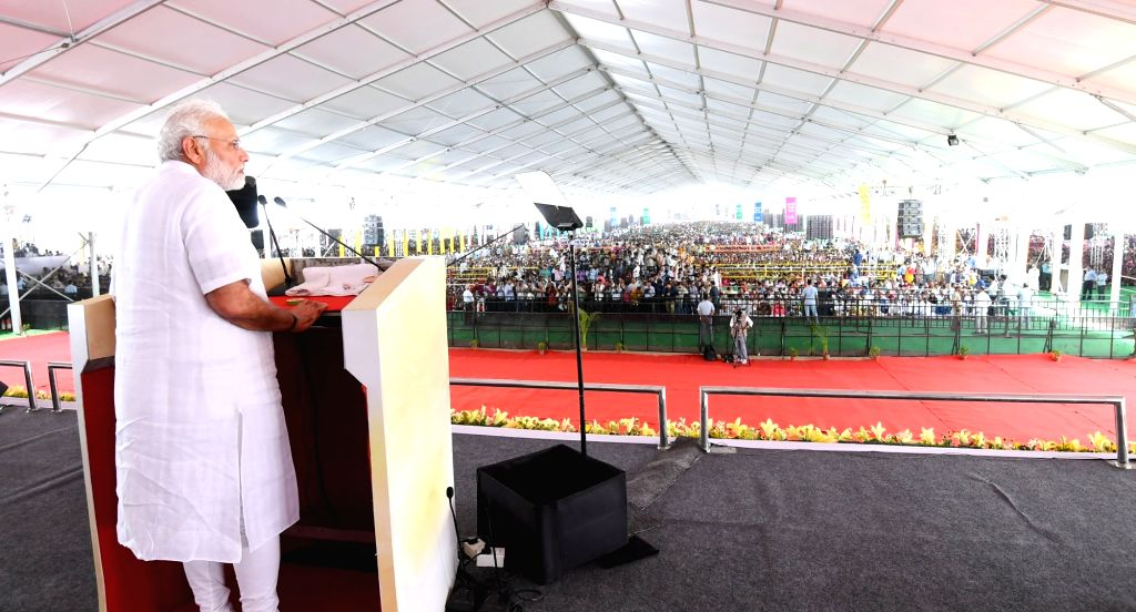 Prime Minister Narendra Modi addresses during a public meeting, in Jaipur on July 7, 2018. - Narendra Modi