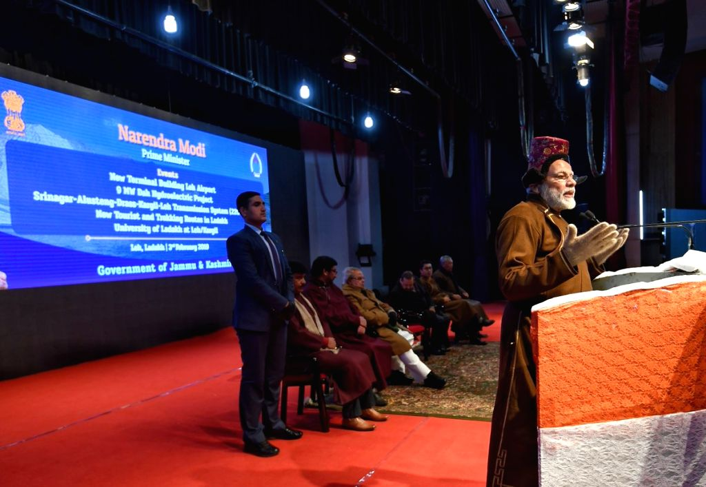 Prime Minister Narendra Modi addresses during a programme in Leh, Jammu and Kashmir on Feb 3, 2019. - Narendra Modi