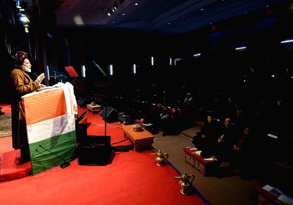 Prime Minister Narendra Modi addresses during a programme in Leh, Jammu and Kashmir on Feb 3, 2019. - Narendra Modi