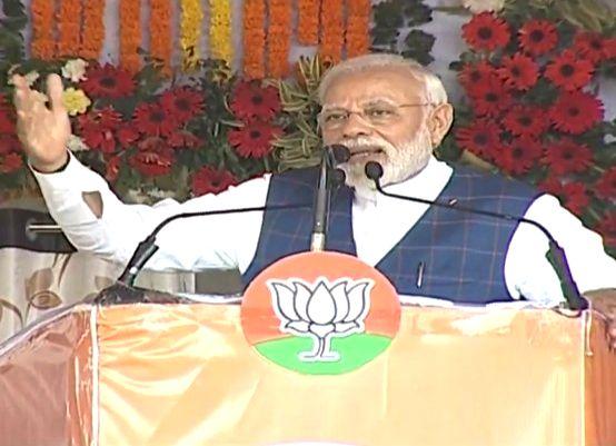 Prime Minister Narendra Modi addresses during a public meeting in Raigarh, Chhattisgarh on Feb 8, 2019. - Narendra Modi