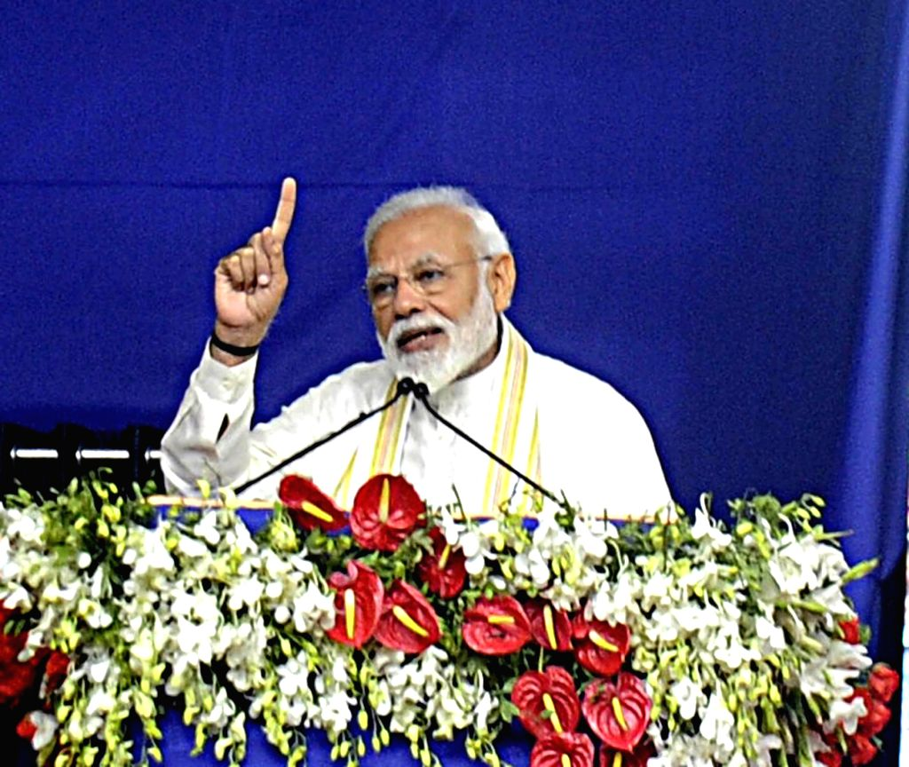 Prime Minister Narendra Modi addresses during a rally in Ahmedabad on March 4, 2019. - Narendra Modi