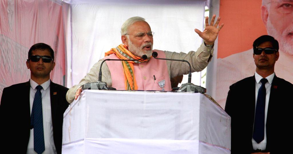 Prime Minister Narendra Modi addresses during an election rally in Tripura's Sonamura on Feb 8, 2018. - Narendra Modi