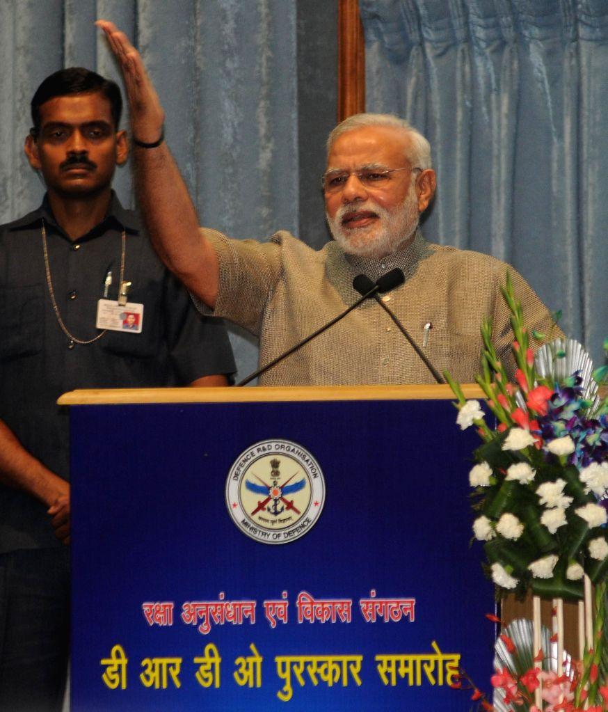 Prime Minister Narendra Modi addresses during the DRDO Awards presentation ceremony  in New Delhi on August 20, 2014. - Narendra Modi