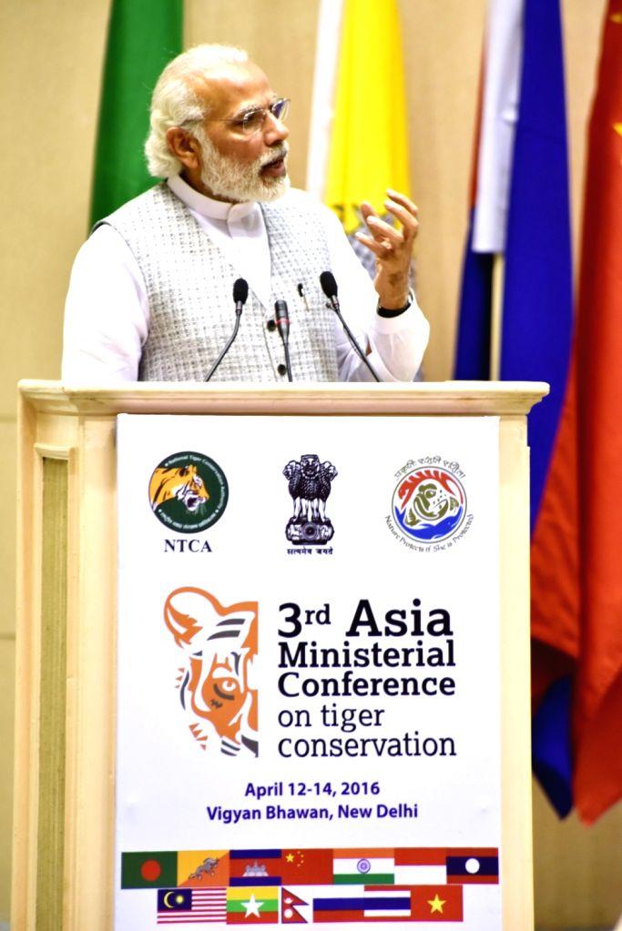 Prime Minister Narendra Modi addresses during the 3rd Asia Ministerial Conference on Tiger Conservation, in New Delhi on April 12, 2016. - Narendra Modi