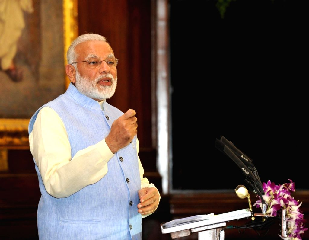 Prime Minister Narendra Modi addresses during the launch ceremony of the Goods and Services Tax (GST) at Central Hall of Parliament on June 30, 2017. - Narendra Modi