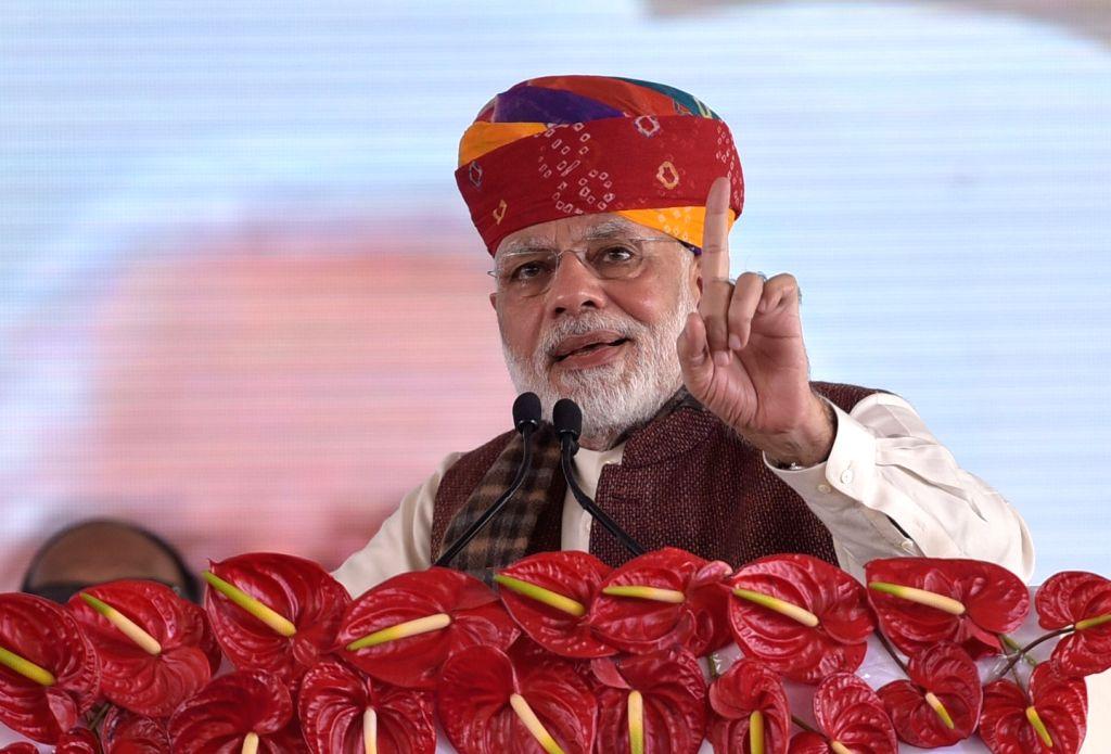 Prime Minister Narendra Modi addresses during the commencement of Barmer Refinery in Barmer, Rajasthan on Jan 16, 2018. - Narendra Modi