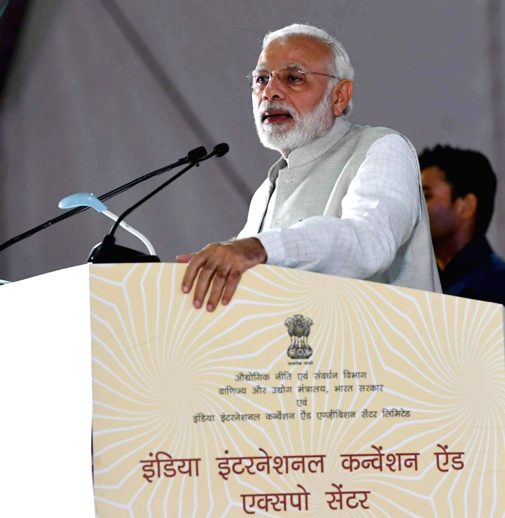 Prime Minister Narendra Modi addresses during the foundation stone laying ceremony of the India International Convention and Expo Centre at Dwarka, in New Delhi on Sept 20, 2018. - Narendra Modi