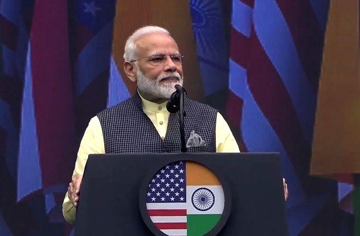 Prime Minister Narendra Modi addresses during the 'Howdy Modi' event at NRG Stadium in Houston, USA, on Sep 22, 2019. - Narendra Modi