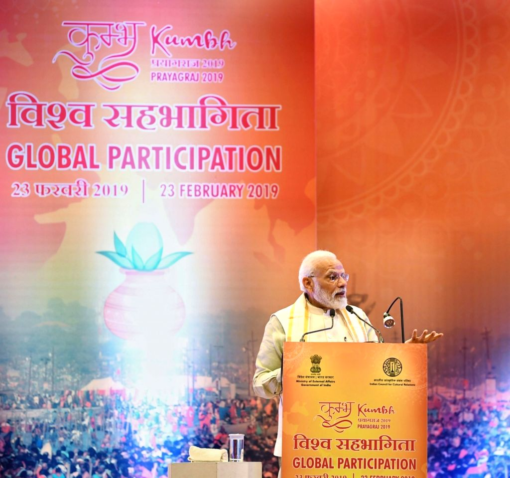 Prime Minister Narendra Modi addresses Pravasi Bhartiya representatives at Pravasi Bhartiya Kendra, in New Delhi on Feb 23, 2019. - Narendra Modi