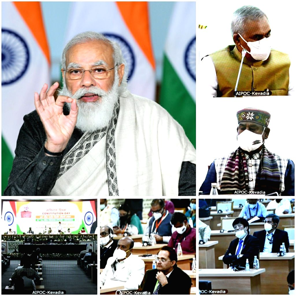 Prime Minister Narendra Modi addresses the concluding session of 80th All India Presiding Officers??? Conference, at Kevadia, Gujarat, through video conferencing, from New Delhi on Nov 26, ... - Narendra Modi