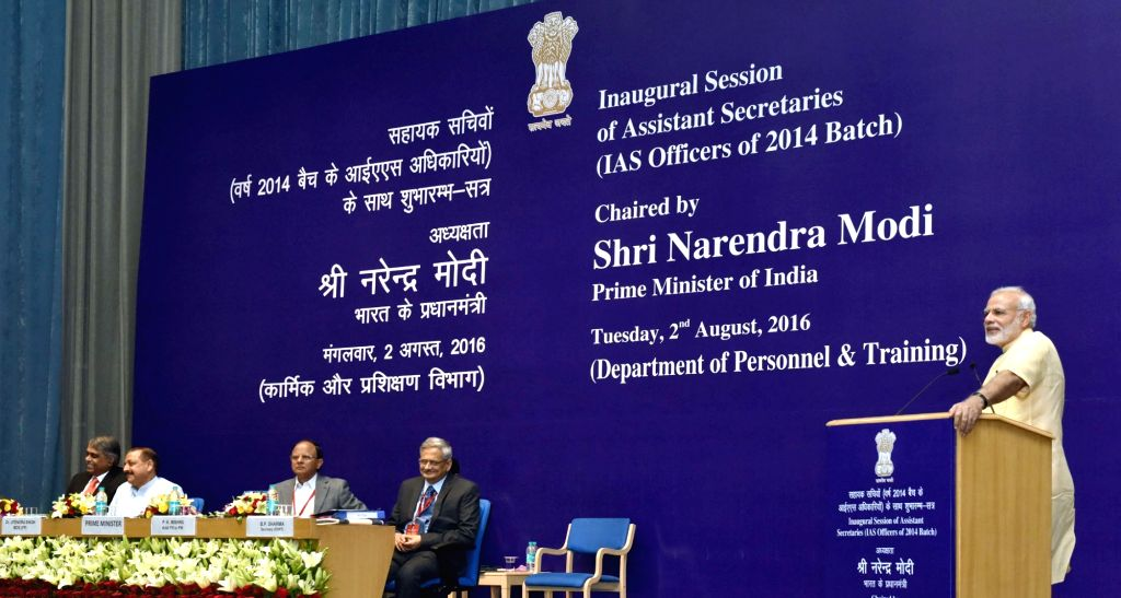 Prime Minister Narendra Modi addresses the Assistant Secretaries (IAS Officers of 2014 batch), in New Delhi on Aug 2, 2016. Also seen Minister of State for Development of North Eastern ... - Narendra Modi, Jitendra Singh and Pradeep Kumar Sinha