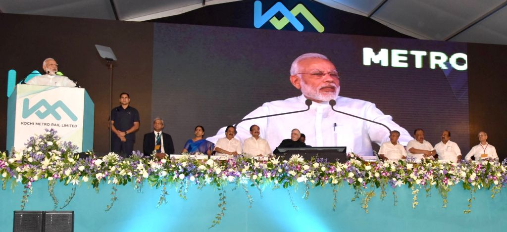 Prime Minister Narendra Modi addresses the gathering after dedicates the Kochi Metro to the Nation, at Jawaharlal Nehru Stadium, Kalur, in Kerala on June 17, 2017. - Narendra Modi