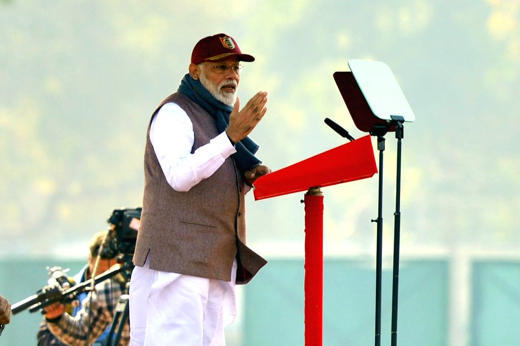 Prime Minister Narendra Modi addresses the culmination parade of this year's National Cadet Corps (NCC) Republic Day Camp at Cariappa Parade Ground in New Delhi, on Jan 28, 2019. - Narendra Modi