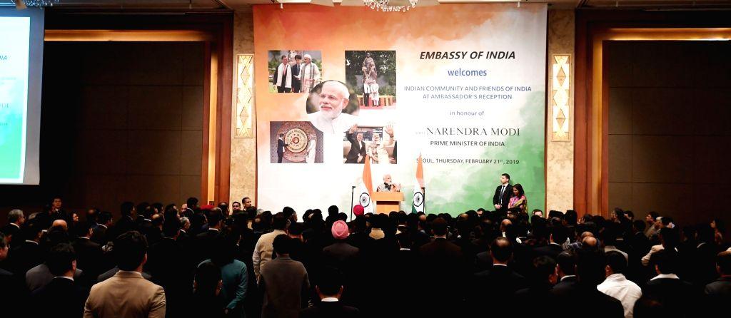 Prime Minister Narendra Modi addresses the vibrant Indian community in Seoul, South Korea on Feb 21, 2019. - Narendra Modi