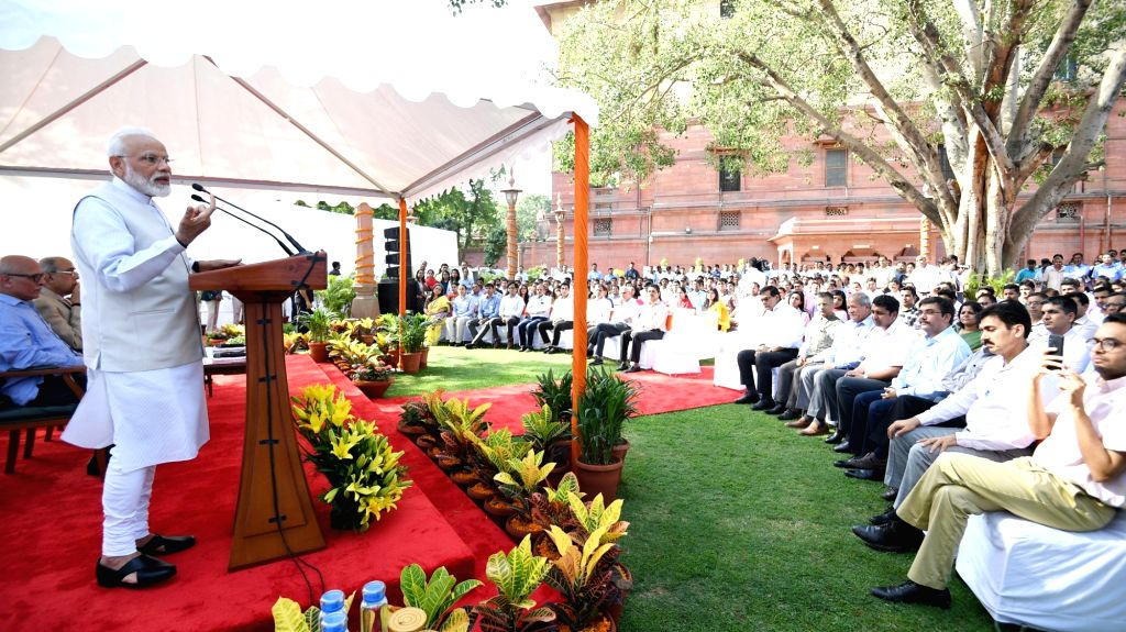 Prime Minister Narendra Modi addresses the officers and staff of the Prime Minister???s Office at South Block, New Delhi on May 24, 2019. - Narendra Modi