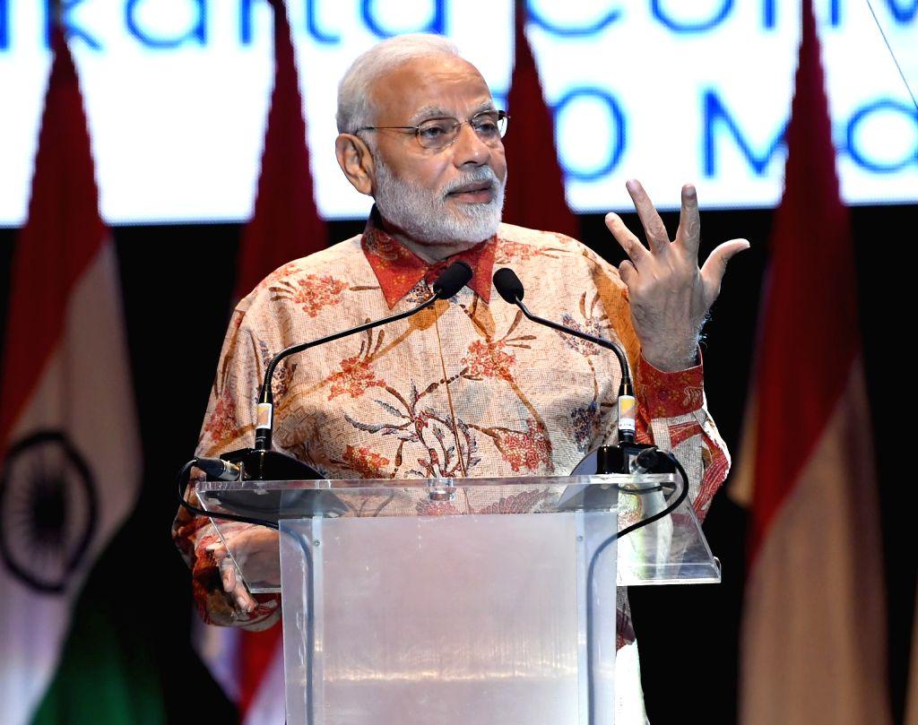 Prime Minister Narendra Modi addresses the Indian community, in Jakarta, Indonesia on May 30, 2018. - Narendra Modi
