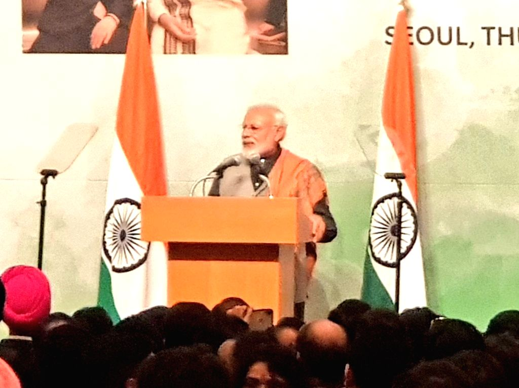 Prime Minister Narendra Modi addresses the Indian Community in Seoul, South Korea, on Feb 21, 2019. - Narendra Modi